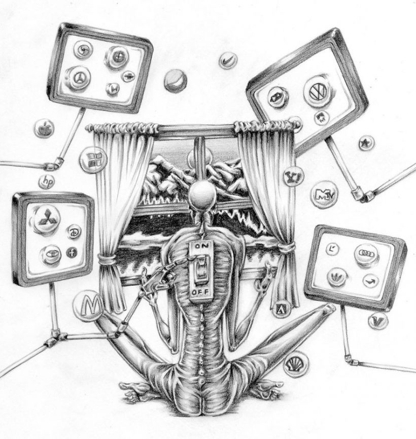 clip art black and white stock Technology drawing society. Satirical illustrations revealing the