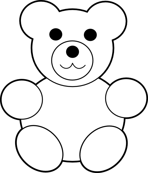banner freeuse Teddy bear black and white clipart. Printable clip art at