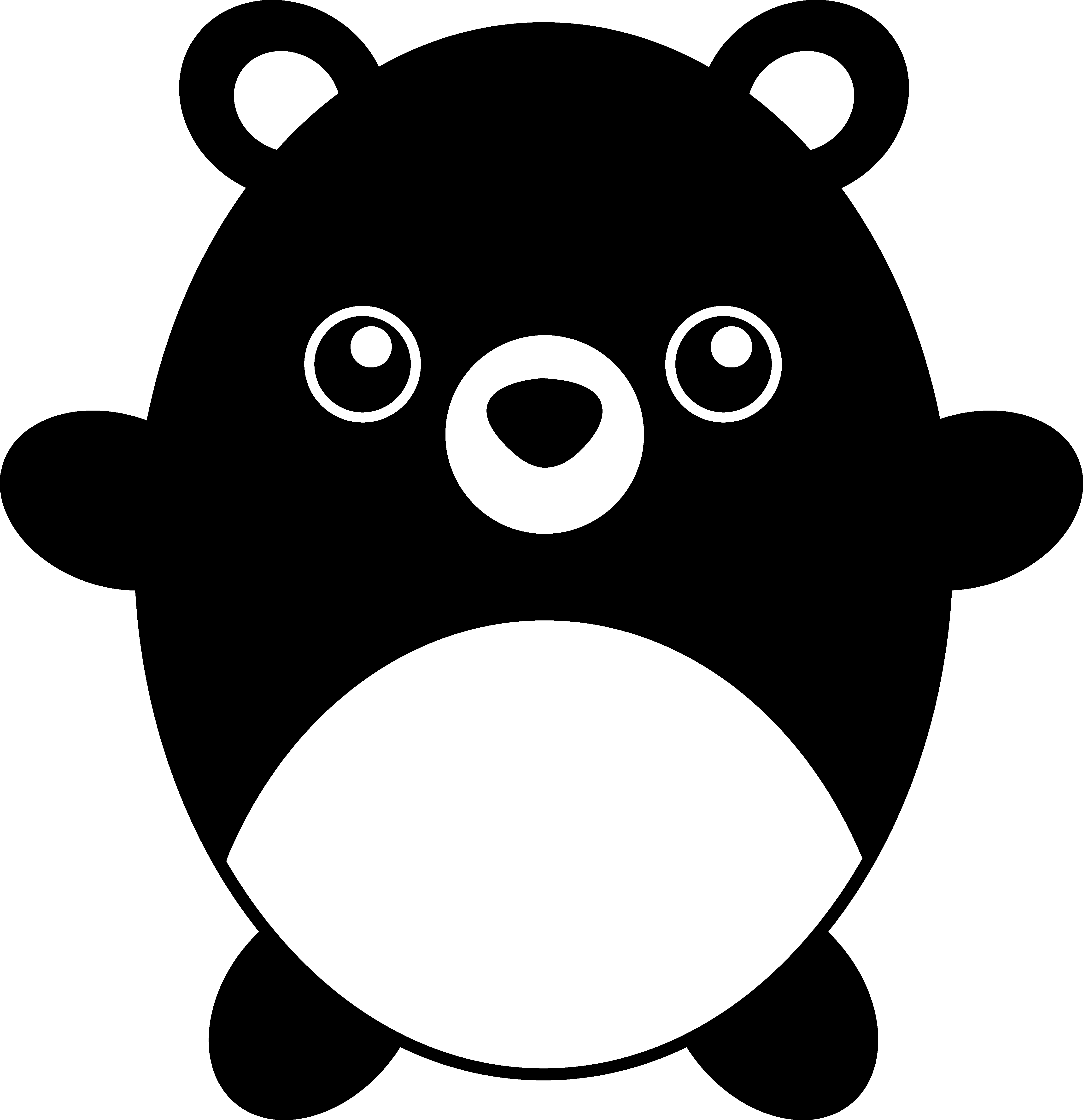 png transparent stock Teddy bear black and white clipart. Cute chubby free clip