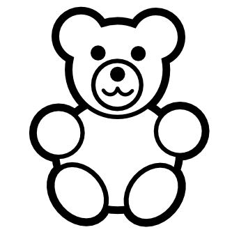 png free stock Free download clip art. Teddy bear black and white clipart