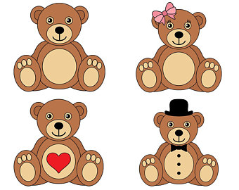 vector freeuse library Teddy bear clipart images. Etsy