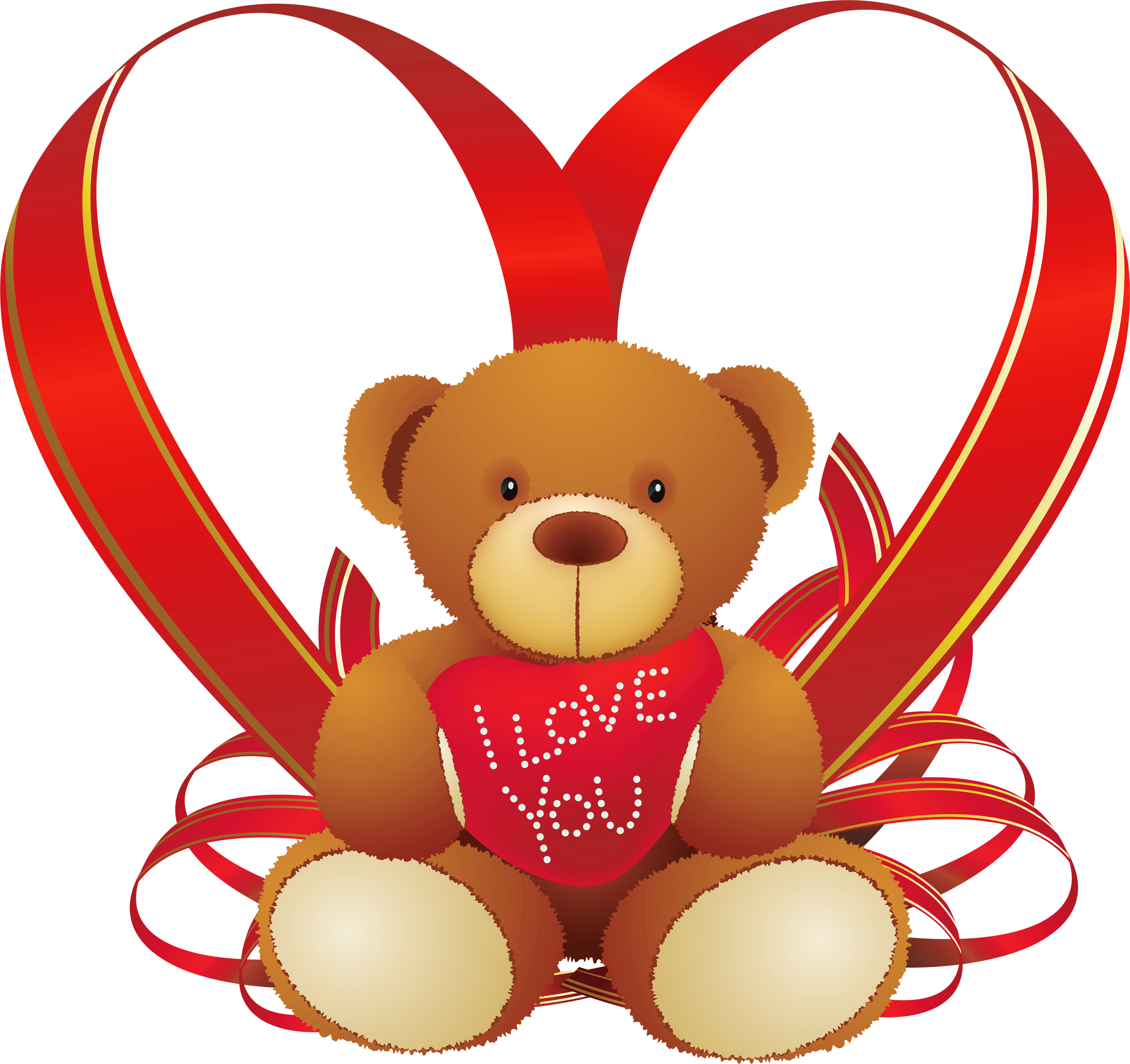 clip freeuse Red heart with . Teddy bear clipart png