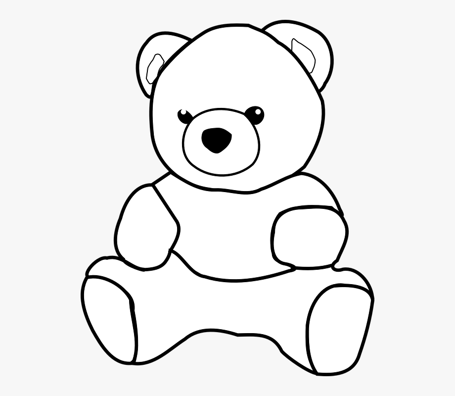 picture black and white library Drawing outline . Teddy bear clipart black and white