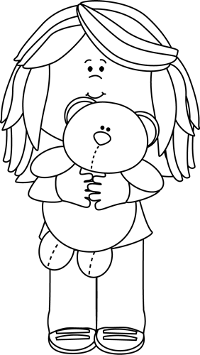 graphic library stock Clipart bear black and white. Girl with teddy clip