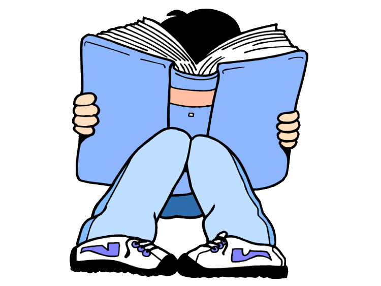 jpg black and white library Teen clipart reading