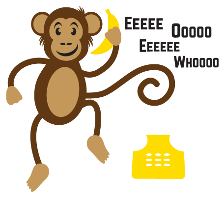 clipart black and white library Monkeyphonecall