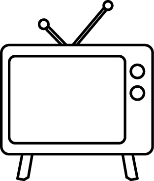 clip art free Black and white objects. Television clipart