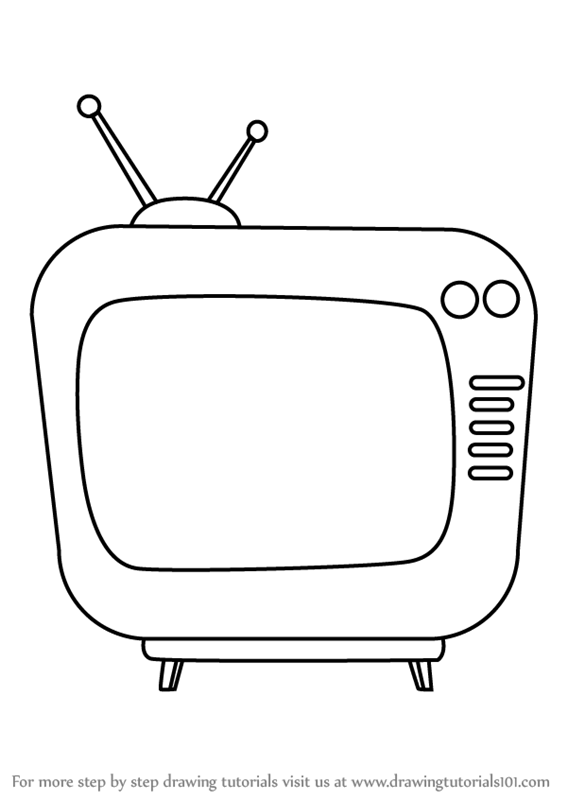 jpg transparent library Learn how to draw. Television drawing.