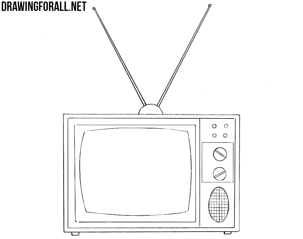 clipart freeuse download How to draw an. Television drawing.