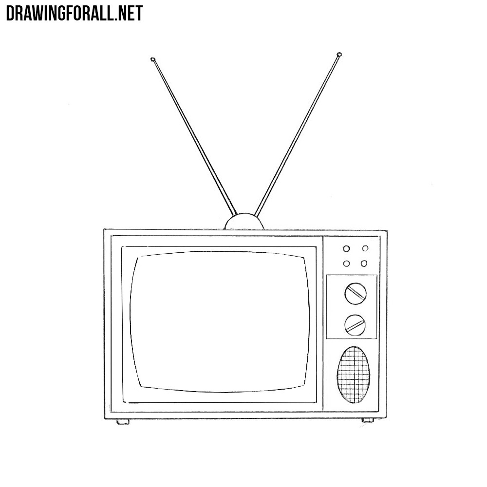 clipart freeuse download Television drawing. How to draw an.