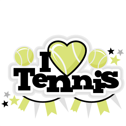 black and white stock I Heart Tennis Title scrapbook cut file cute clipart files for