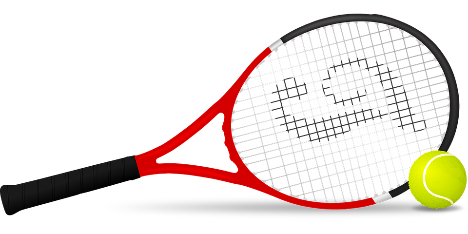image black and white Tennis racket and ball clipart. Free vector graphic on