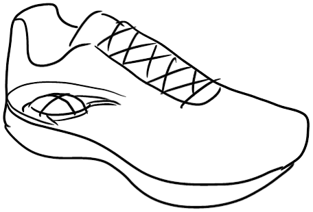 clip art royalty free library Shoe drawing at getdrawings. Tennis shoes clipart black and white