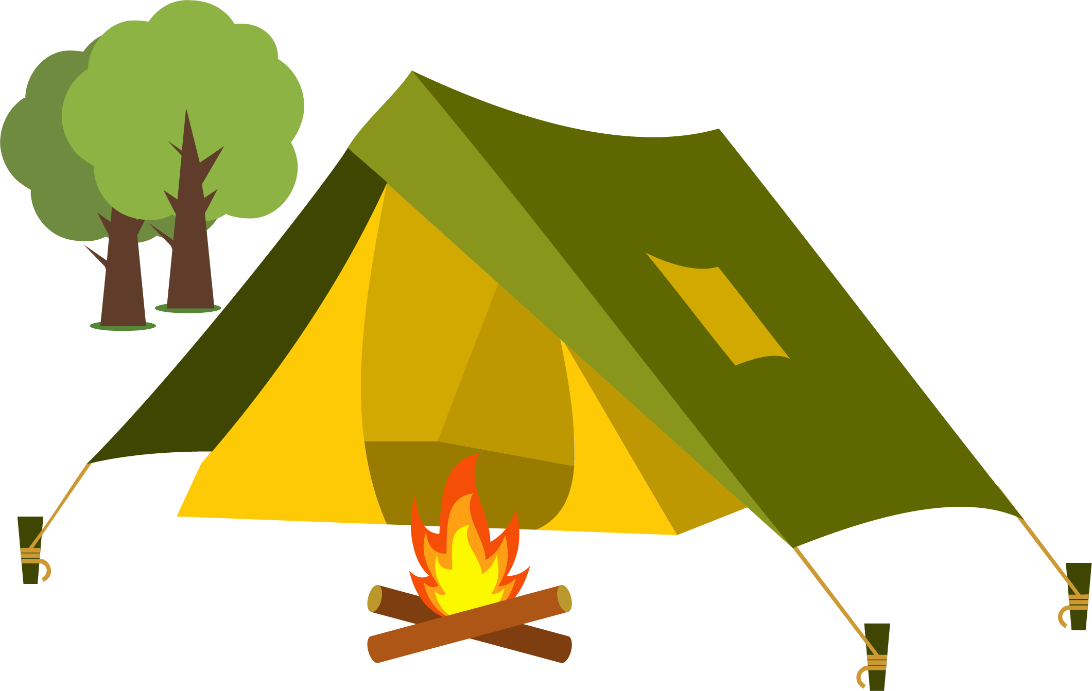 free stock Cartoon camping clip art. Tent and campfire clipart