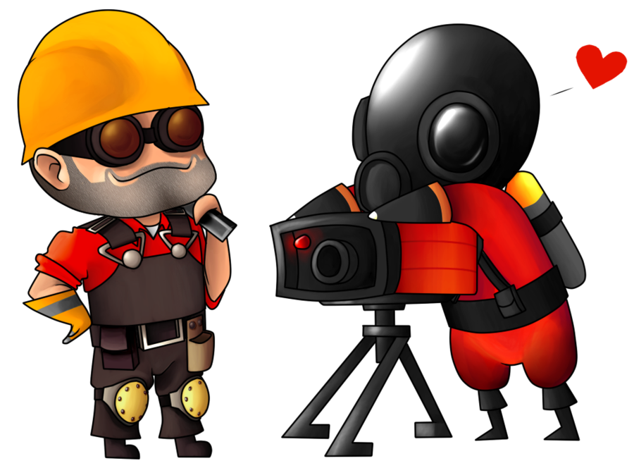 graphic royalty free Engie and Pyro by SillyEwe on DeviantArt
