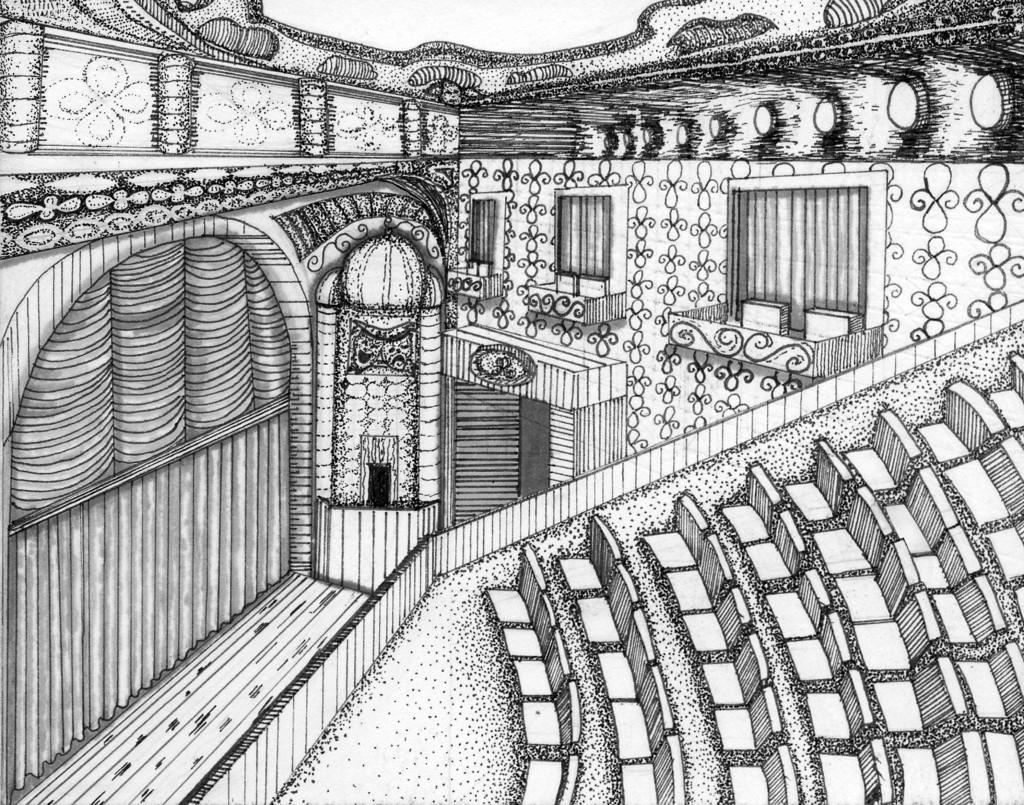 театр рисунок в карандаше мои