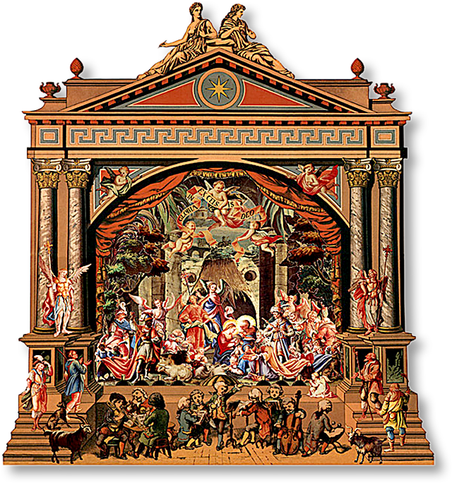 picture royalty free library The toy theater proscenium that houses the Orchestra Nativity