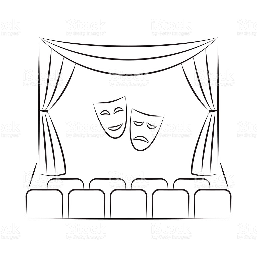 clipart freeuse library Theatre drawing line. Theater curtains at paintingvalley