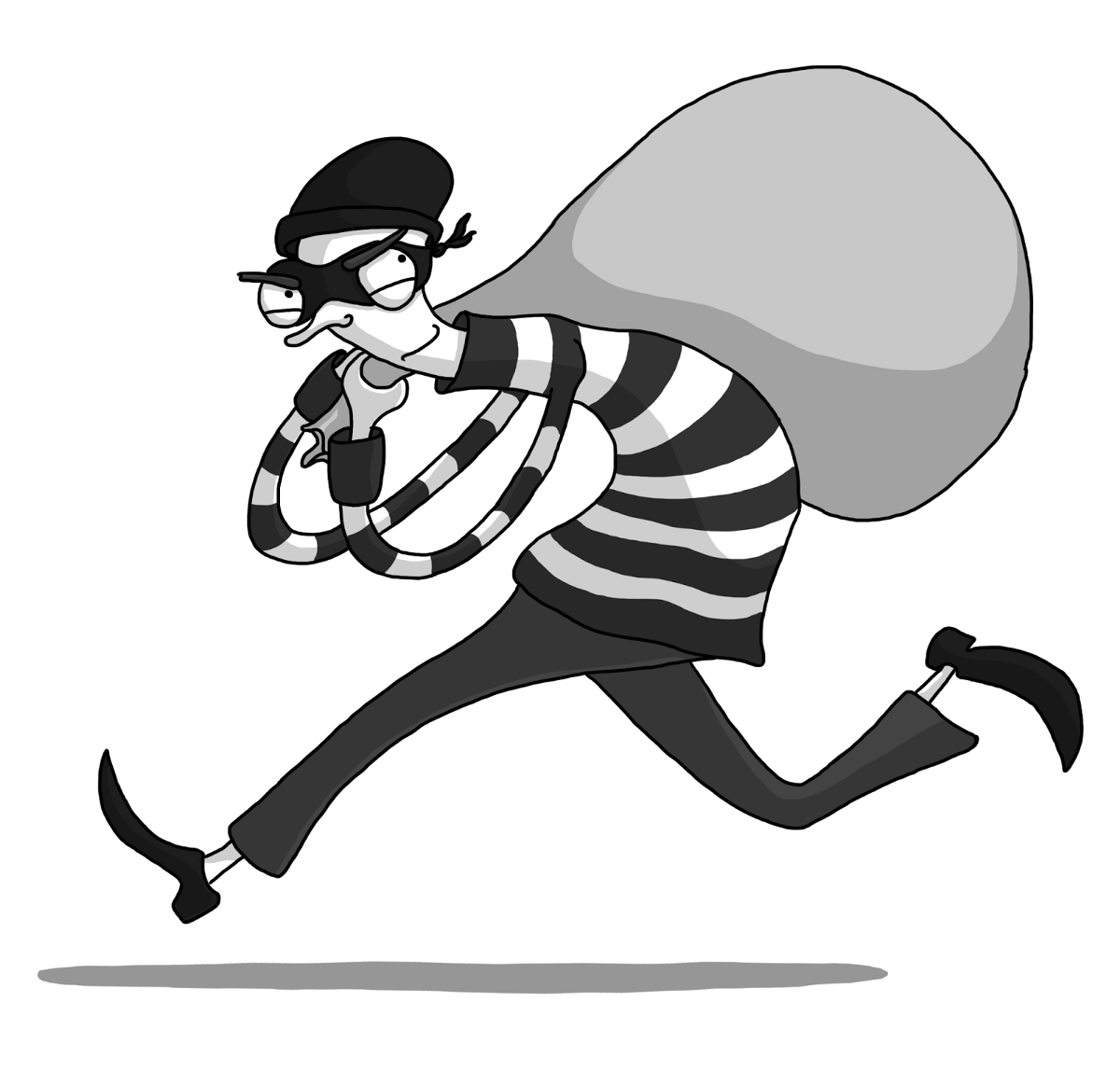 vector royalty free Thief clipart black and white.  ways to stop