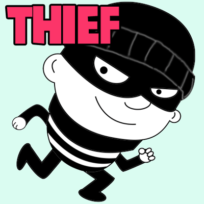 jpg black and white library How to draw cartoon. Thief drawing
