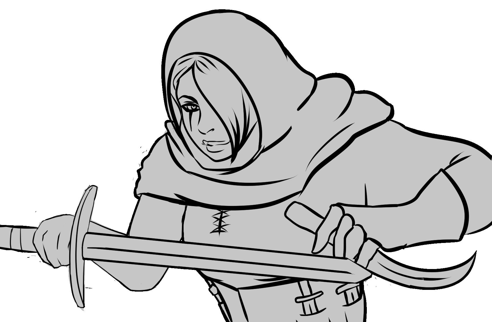 jpg stock Image erika short sword. Thief drawing