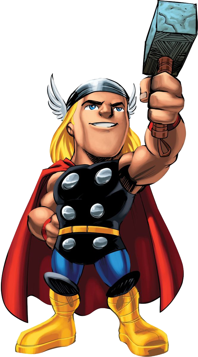 banner free Thor clipart cartoon character. Marvel super hero squad