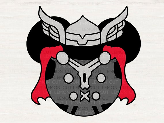 free Mouse head avengers ears. Thor clipart svg
