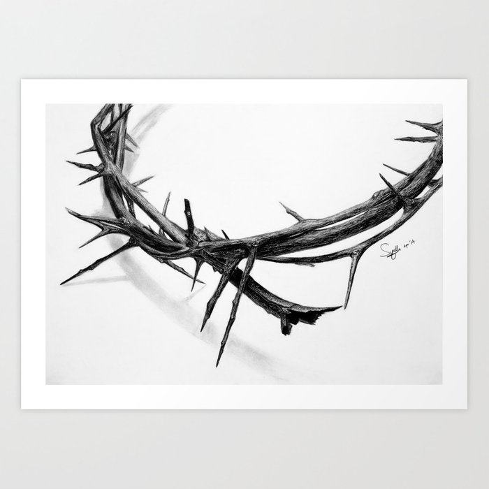banner free stock Thorn drawing. Crown of thorns pencil