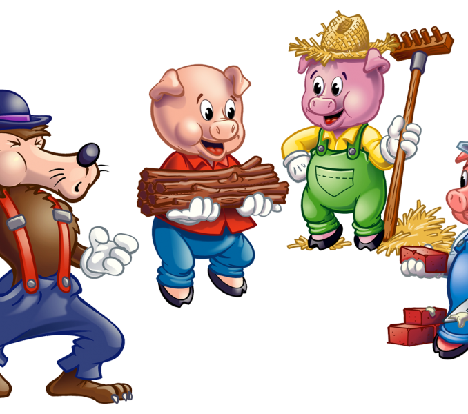 vector free Pigs kids coloring europe. Three little clipart