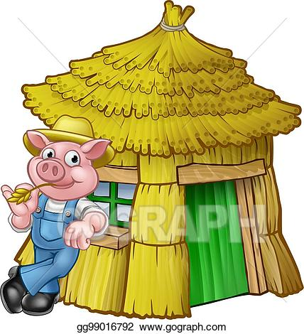 graphic royalty free library Three little clipart straw. Eps vector pigs fairy