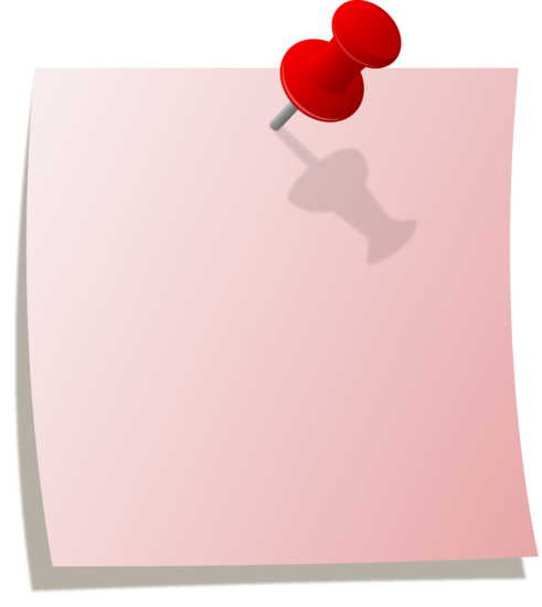 clipart black and white stock Pink Note With Red Thumbtack