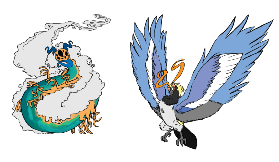 clipart freeuse library Horned Serpent and Thunderbird by FrankiLew on DeviantArt