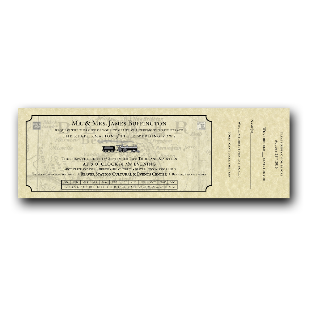 banner freeuse stock Train Ticket Wedding Invitation Set
