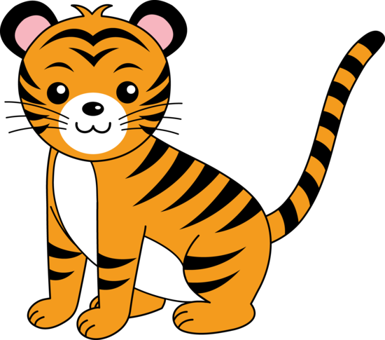 freeuse library Tiger clipart. Cute orange cub free
