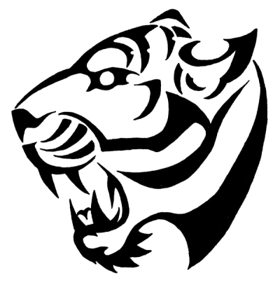 black and white library Download tattoos free png. Tiger clipart black and white
