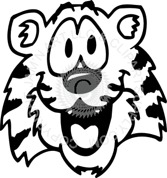 clip black and white stock Cute . Tiger face clipart black and white