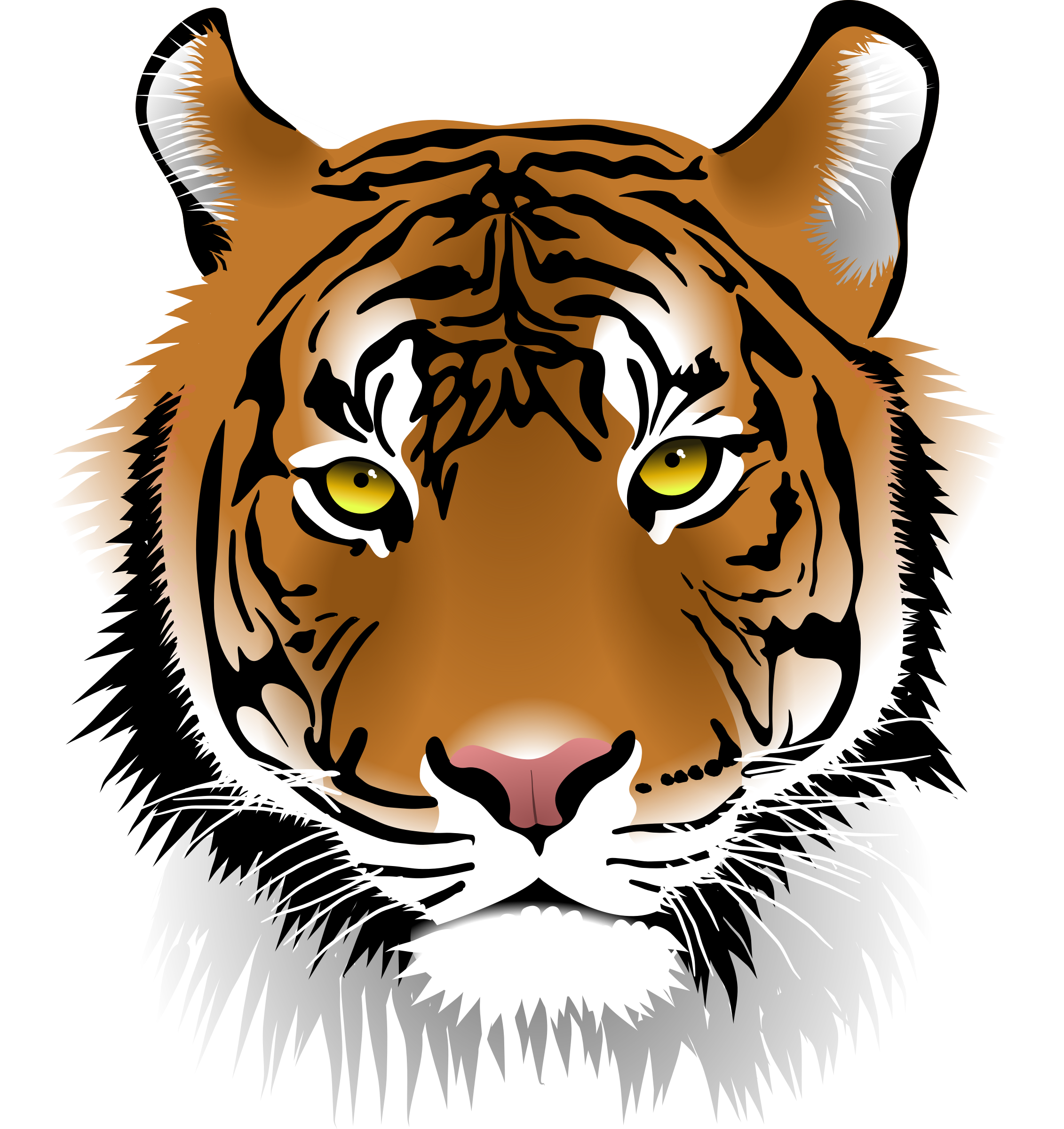 clip transparent download . Tiger face clipart black and white