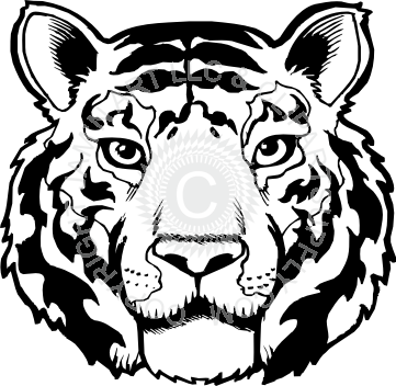 banner royalty free download Tiger head black and white