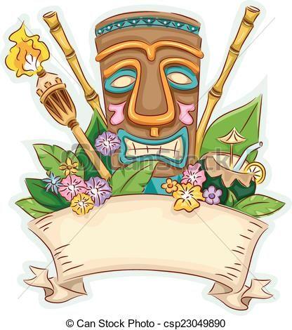 jpg library download Vector stock illustration royalty. Tiki clipart banner.