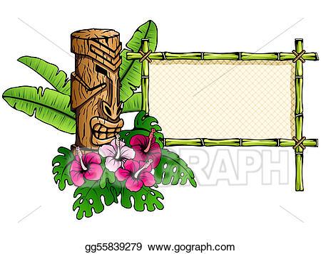 vector black and white Vector stock detailed hawaiian. Tiki clipart banner.