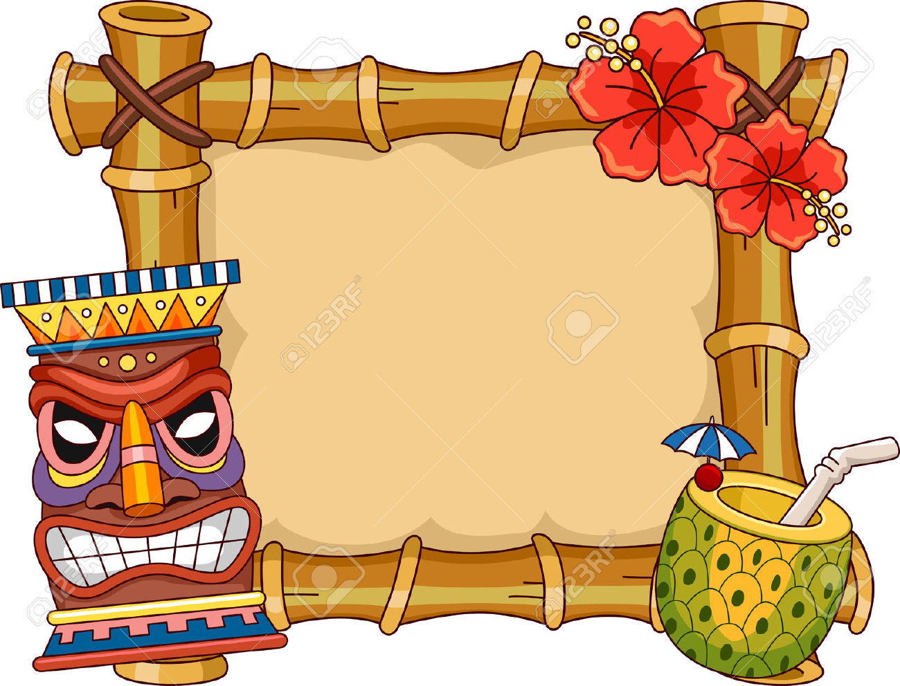 vector black and white Tiki clipart banner. Border free download best.