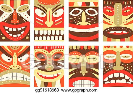 clip library stock Vector set background flyer. Tiki clipart banner.