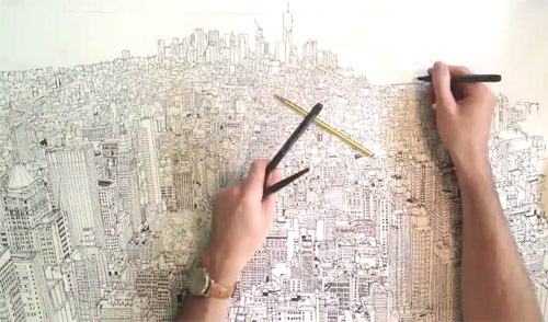 jpg black and white library Timelapse drawing. Time lapse of manhattan