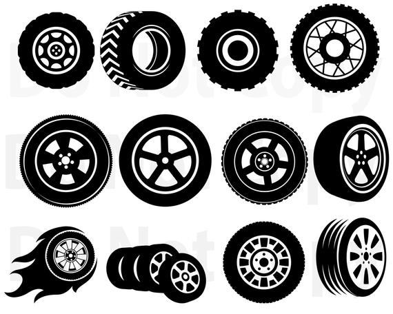 graphic library Svg bundle car file. Tires vector.
