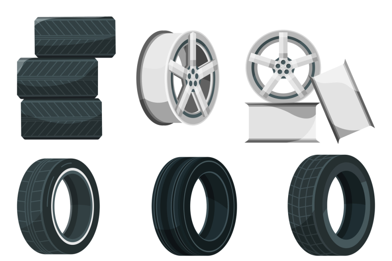 clip transparent stock Tires vector. Icon set of different.