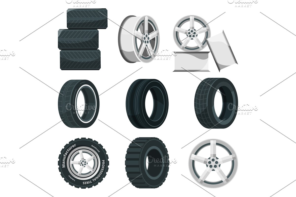 vector Tires vector. Icon set of different.