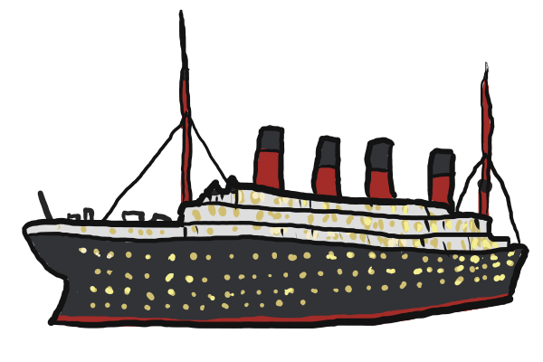 png black and white Titanic clipart vector. Clip art free haha
