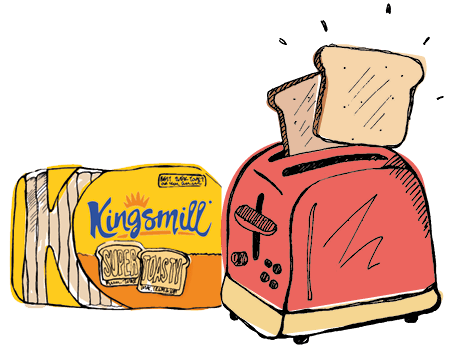 graphic royalty free download Toaster clipart bread. Kingsmill bitesize our people