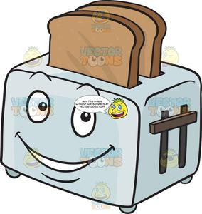 graphic royalty free Toaster clipart cartoon. Happy popping out breads.