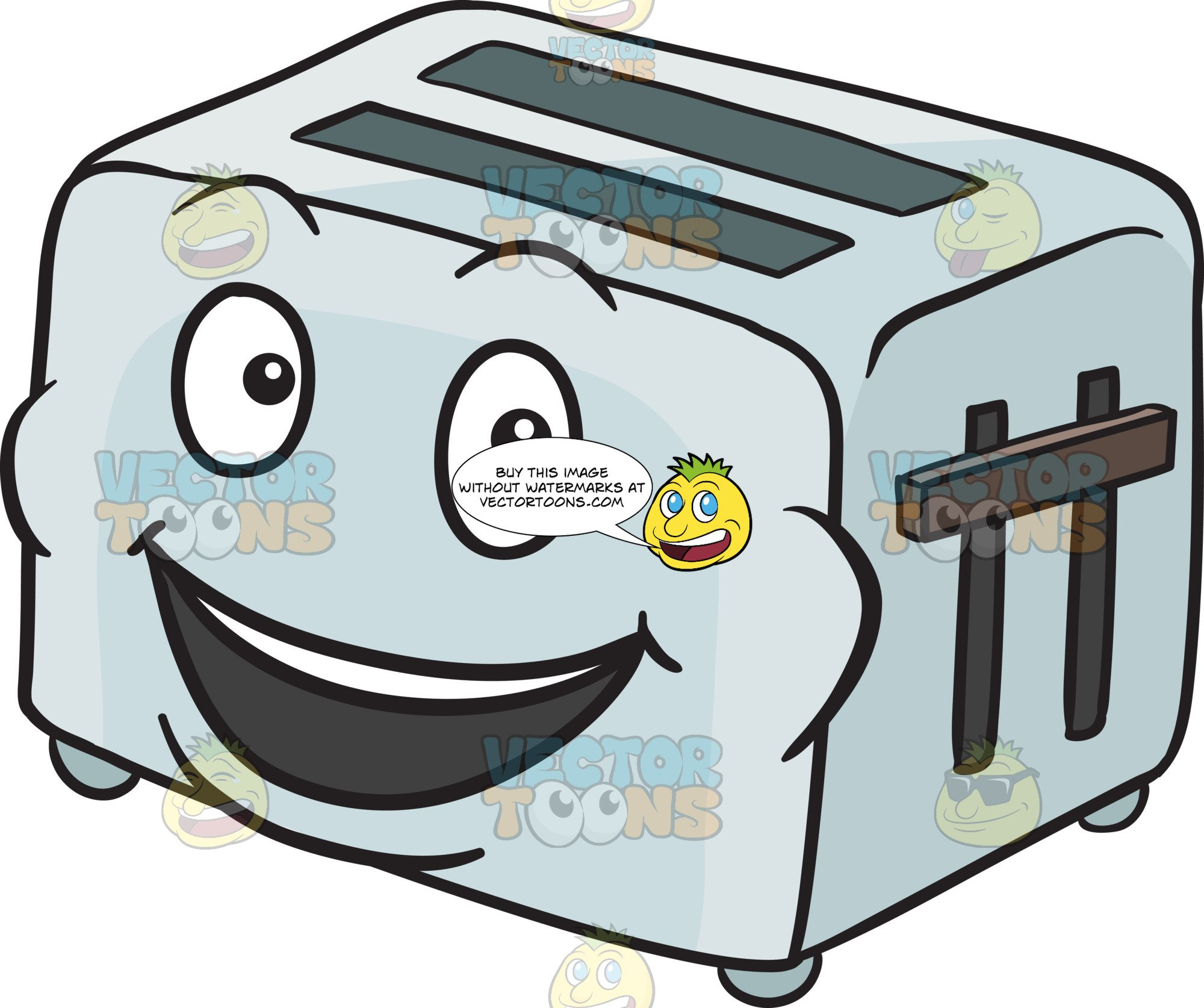 jpg free stock Toaster clipart emoji. Pop up smiling in.